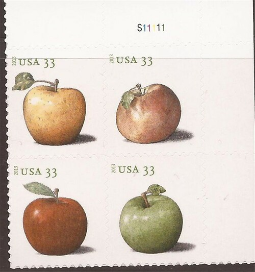 US Stamp - 2013 Apples - Plate Block of 4 Stamps - Scott #4727-30