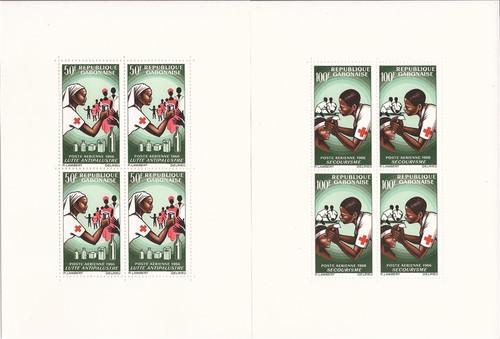 Gabon - 1966 Red Cross - Set of 2 4 Stamp Souvenir Sheets #C41a-2a