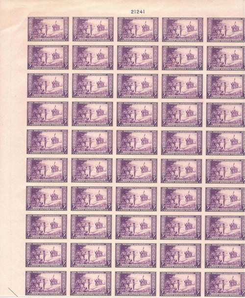 US Stamp - 1935 Wisconsin - 50 Stamp Imperf Top Sheet - NGAI #756