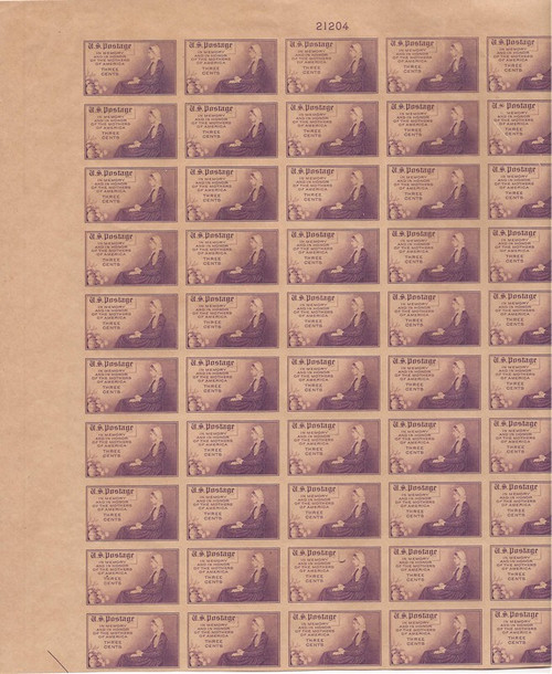 US Stamp - 1935 Mother's Day - 50 Stamp Imperf Top Sheet - NGAI #754