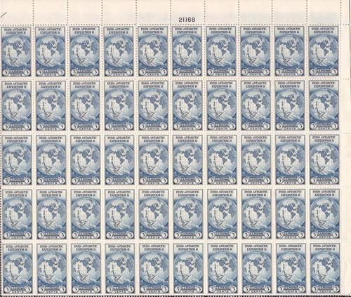 US Stamp - 1935 3c Byrd - 50 Stamp Top Sheet - VF NGAI #753