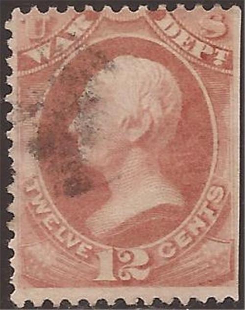 US Stamp - 1873 12c Official War - F/VF Used SE - Scott #O89