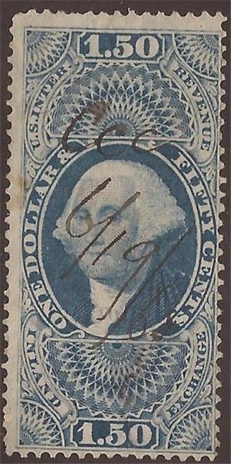 US Stamp - 1863 $1.50 Inland Exchange Revenue Stamp - F/VF #R78c