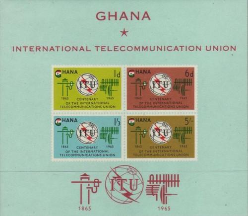 Ghana - 1965 ITU Centenary - 4 Stamp Souvenir Sheet - MNH Scott #207a