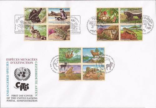 UN - 2002 Endangered Species FDC - NY #821a, Geneva #389a, Vienna #311