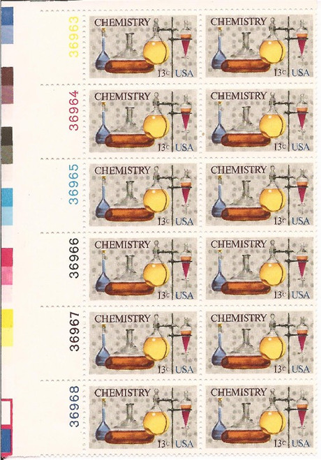 US Stamp - 1976 13c Chemistry - Plate Block of 12 Stamps #1685