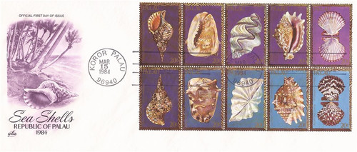 Palau - 1984 Sea Shells - Block of 10 Stamps - FDC - Scott #50a