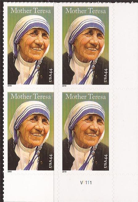 US Stamp - 2010 Mother Teresa - Plate Block of 4 Stamps - Scott #4475