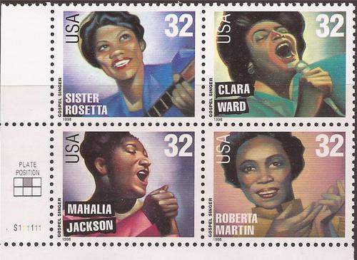 US Stamp - 1998 Gospel Singers - Plate Block of 4 Stamps #3216-9