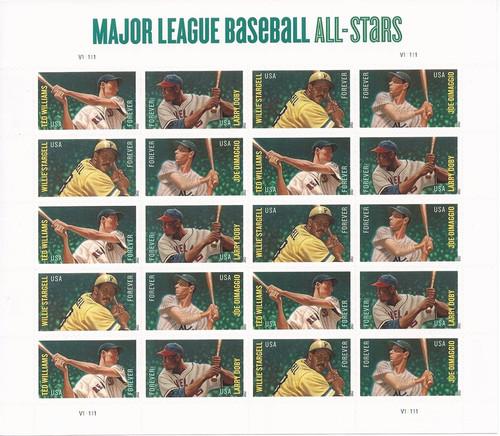 US Stamp 2012 Baseball Hall of Famers 20 Forever Stamps Sheet #4694-7