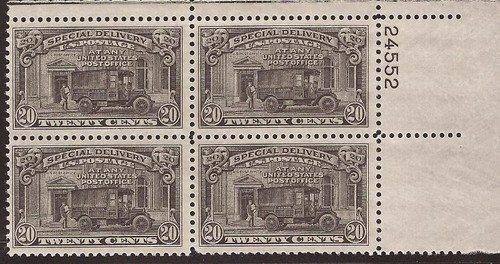US Stamp - 1951 20c Special Delivery - Plate Block of 4 Stamps #E19
