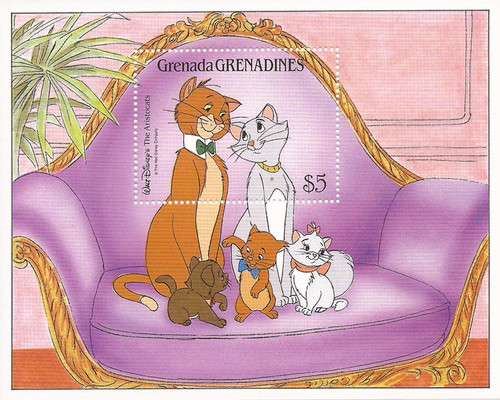 Grenada Grens - 1988 Disney Aristocats - Stamp Souvenir Sheet #997