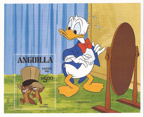 Anguilla - 1981 Disney Donald Duck, Chip n' Dale - Souvenir Sheet #443