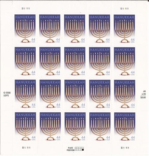 US Stamp - 2009 Hanukkah - 20 Stamp Sheet - Scott #4433