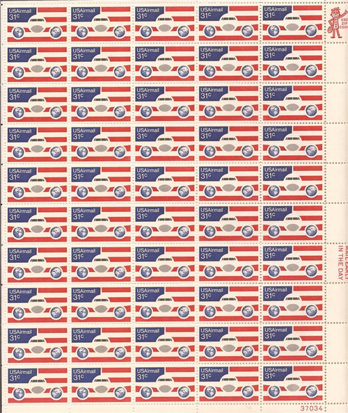 US Stamp - 1976 Plane, Globes & Flag - 50 Stamp Sheet - Scott #C90