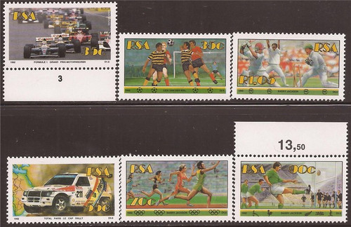 South Africa - 1992 Sports Auto Racing, Cricket - 6 Stamp Set #834-9