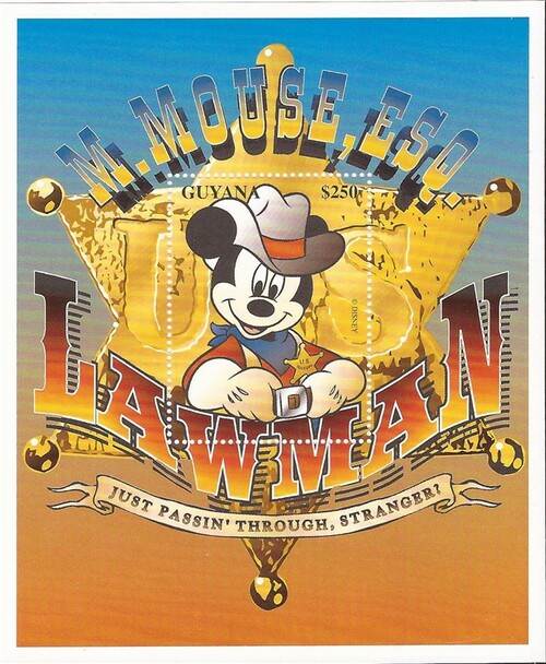 Guyana - 1996 Disney Lawman Mickey Mouse - Stamp Souvenir Sheet #3093
