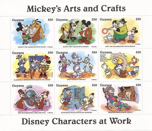 Guyana - 1995 Disney Mickey's Arts & Crafts - 9 Stamp Sheet #2918