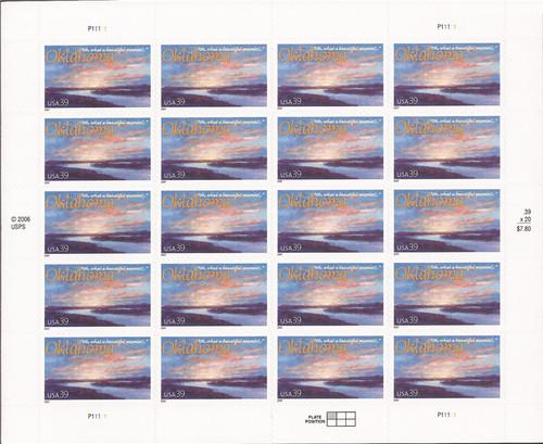 US Stamp - 2007 Oklahoma Statehood - 20 Stamp Sheet - Scott #4121