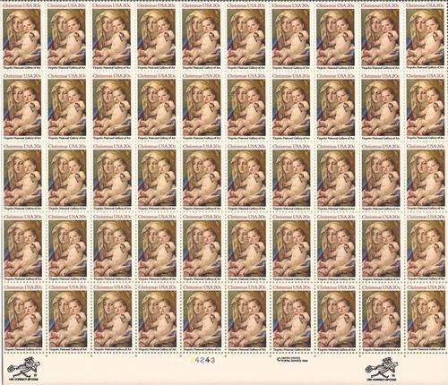 US Stamp - 1982 Madonna & Child - 50 Stamp Sheet - Scott  #2026