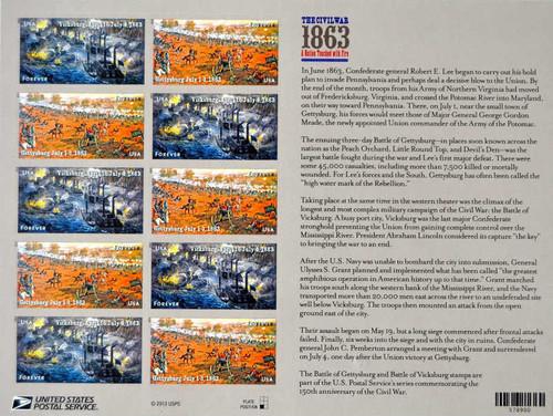 US Stamp 2013 Civil War Gettysburg Vicksburg 12 Stamp Sheet #4787-8