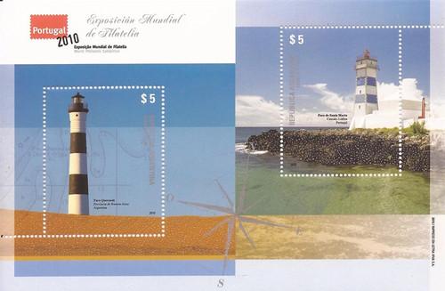 Argentina - 2010 Lighthouses - 2 Stamp Sheet - Scott #2599