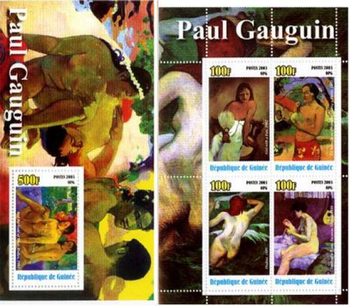 Gauguin Paintings On Stamps - Sheet of 4 Stamps + S/S All MNH G03