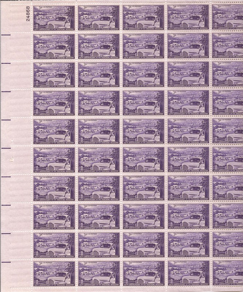 US Stamp - 1953 Trucking Industry - 50 Stamp Sheet - Scott #1025