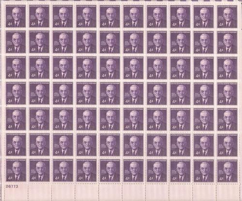 US Stamp - 1960 John Foster Dulles - 70 Stamp Sheet - Scott #1172