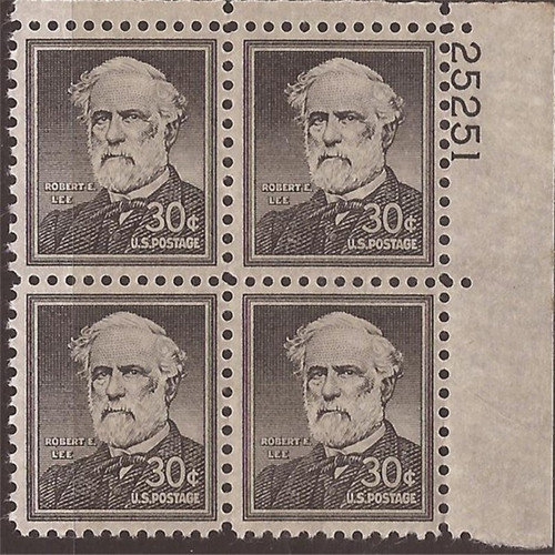 US Stamp - 1955 30c Robert E. Lee - PB of 4 Stamps Wet Printing #1049
