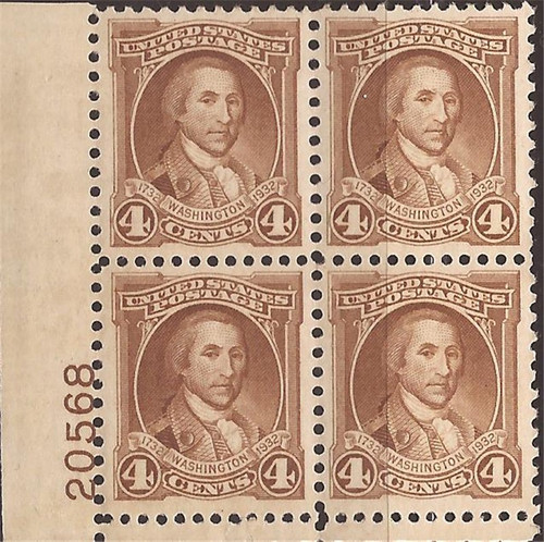 US Stamp - 1932 4c George Washington - Plate Blk of 4 Stamps MNH #709
