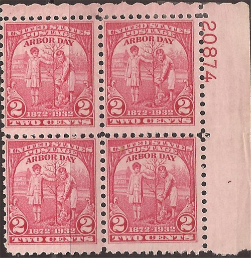 US Stamp - 1932 Arbor Day - Plate Block of 4 Stamps MNH - Scott #717