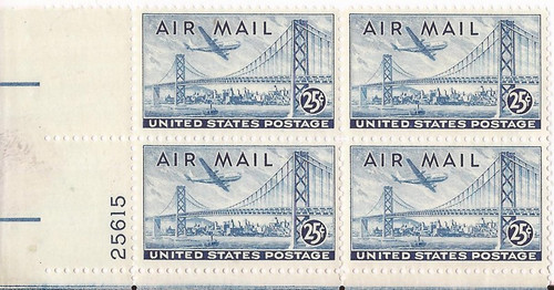 US Stamp - 1947 Bridge & Plane - PB of 4 Stamps Dry Print #C36a