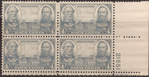 US Stamp - 1937 4c Army - Plate Block of 4 Stamps - VF MNH #788