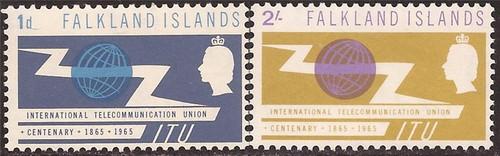 Falkland Islands - 1965 ITU - 2 Stamp Set - F/VF MLH - Scott #154-5