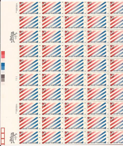 US Stamp - 1982 US-Netherlands - 50 Stamp Sheet - Scott #2003