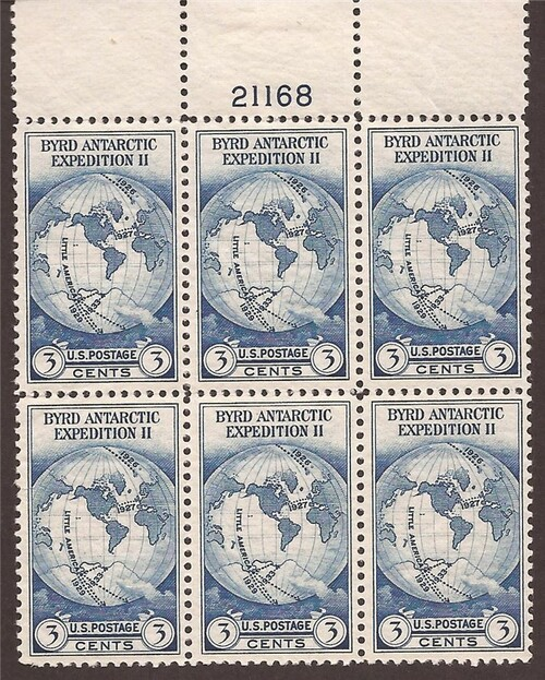 US Stamp 1933 Byrd Antarctic Plate Block of 6 Stamps  #733 F/VF MNH