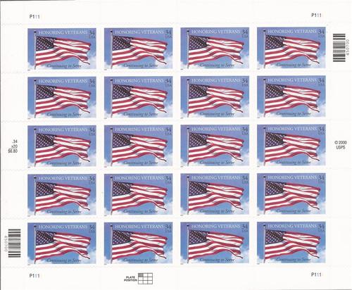 US Stamp - 2001 Honoring Veterans - 20 Stamp Sheet - Scott #3508