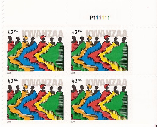 US Stamp - 2008 Kwanzaa - Plate Block of 4 Stamps - Scott #4373