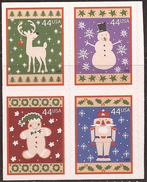 US Stamps - 2009 Christmas - Block of 4 Stamps - Scott #4425-8