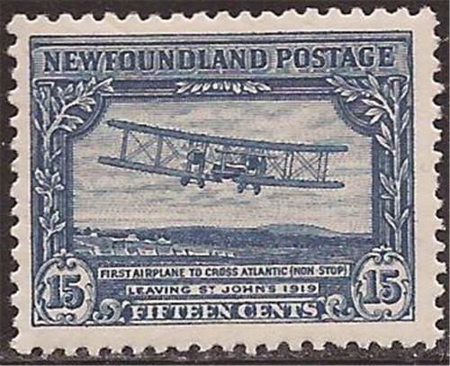 Newfoundland - 1928 15c Transatlantic Flight Stamp - F/VF MH #156