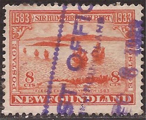Newfoundland - 1933 8c Sir Humphrey Gilbert Stamp - VF Used #218