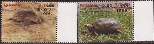 Panama - 1995 Turtles Overprints - 2 Stamps 16H-001 - Scott #815, 818