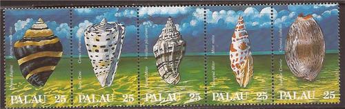 Palau - 1988 Seashells - 5 Stamp Strip - Scott #195a