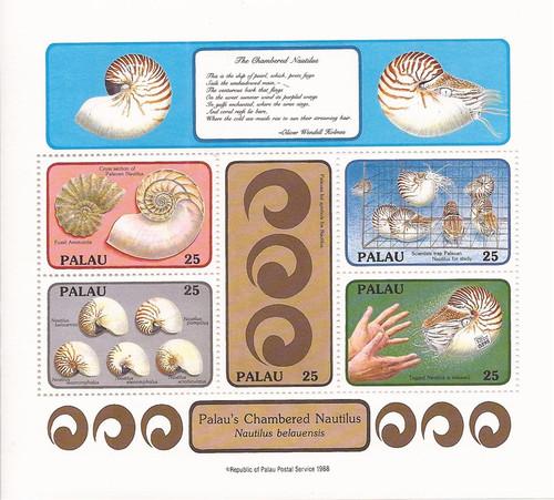 Palau - 1988 Chambered Nautilus Shell - 5 Stamp Souvenir Sheet #203