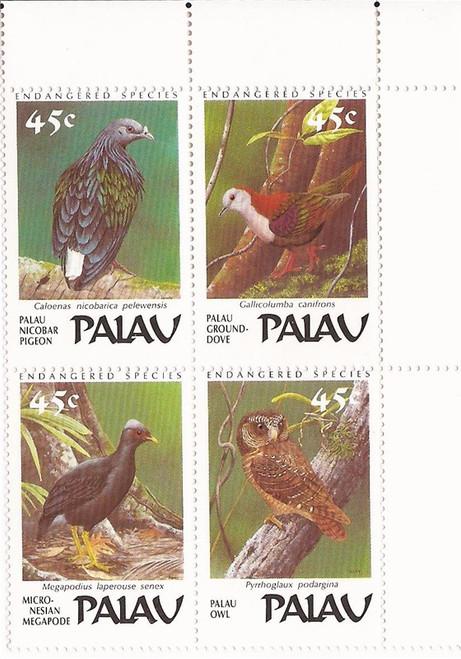 Palau - 1988 Endangered Birds - Block of 4 Stamps - Scott #207a
