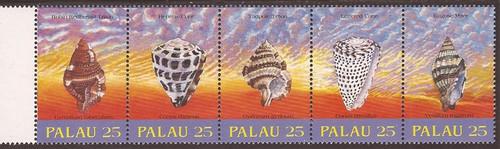 Palau - 1989 Seashells - Strip of 5 Stamps - Scott #216a