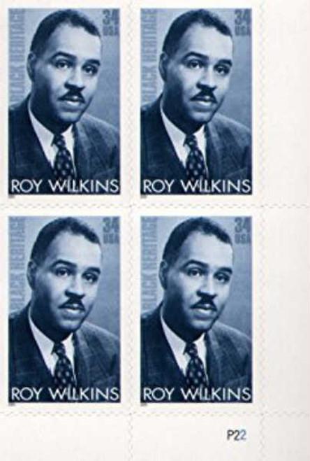 US Stamp - 2001 Black Heritage Roy Wilkins Plate Block of 4 Stamps #3501