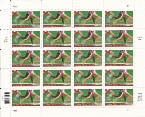 US Stamp - 2000 Summer Sports - 20 Stamp Sheet - Scott #3397