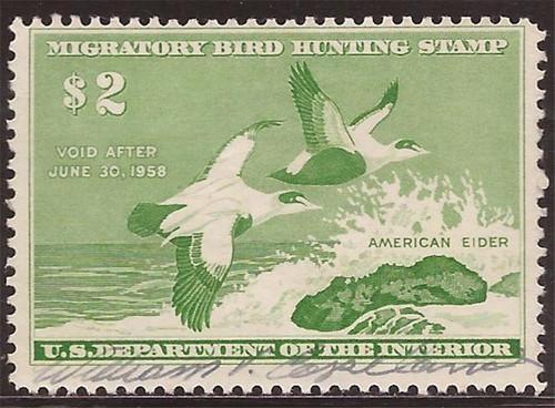 US Stamp 1957 American Elders Ducks Signed Scott #RW24